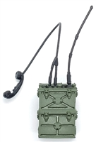 "WWII US: SCR-300 Field Radio Backpack with Handset and Antenna - 1:18 Scale Modular MTF Accessory for 3-3/4"" Action Figures"