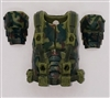 "Male Vest: Armor Type OLIVE GREEN CAMO Version - 1:18 Scale Modular MTF Accessory for 3-3/4"" Action Figures"