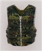 "Male Vest: Tactical Type OLIVE GREEN CAMO Version - 1:18 Scale Modular MTF Accessory for 3-3/4"" Action Figures"