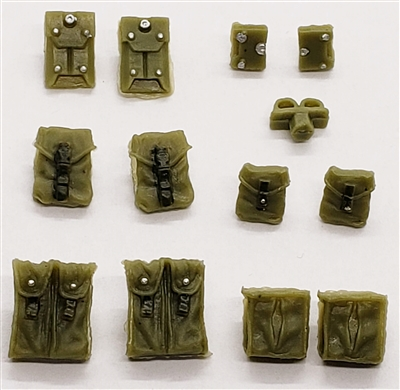 "Pouch & Pocket Deluxe Modular Set: OLIVE GREEN Version - 1:18 Scale Modular MTF Accessories for 3-3/4"" Action Figures"