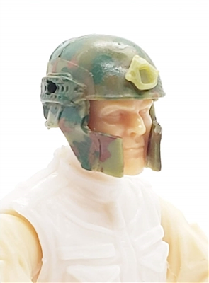 "Headgear: Tactical Helmet OLIVE GREEN CAMO Version - 1:18 Scale Modular MTF Accessory for 3-3/4"" Action Figures"