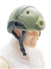 "Headgear: Half-Shell Helmet OLIVE GREEN Version - 1:18 Scale Modular MTF Accessory for 3-3/4"" Action Figures"