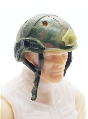 "Headgear: Half-Shell Helmet OLIVE GREEN CAMO Version - 1:18 Scale Modular MTF Accessory for 3-3/4"" Action Figures"