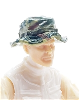 "Headgear: Boonie Hat OLIVE GREEN CAMO Version - 1:18 Scale Modular MTF Accessory for 3-3/4"" Action Figures"