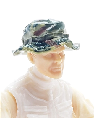 b5b713081da Headgear  Boonie Hat OLIVE GREEN CAMO Version - 1 18 Scale Modular MTF  Accessory