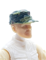 "Headgear: Fatigue Cap OLIVE GREEN CAMO Version - 1:18 Scale Modular MTF Accessory for 3-3/4"" Action Figures"
