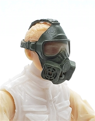 "Headgear: Gasmask OLIVE GREEN Version - 1:18 Scale Modular MTF Accessory for 3-3/4"" Action Figures"
