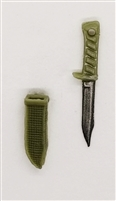 "Fighting Knife & Sheath: Small Size OLIVE GREEN Version - 1:18 Scale Modular MTF Accessory for 3-3/4"" Action Figures"