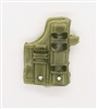 "Pistol Holster: Large Right Handed with Loop OLIVE GREEN Version - 1:18 Scale Modular MTF Accessory for 3-3/4"" Action Figures"