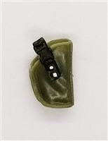 "Pistol Holster: Small  Right Handed OLIVE GREEN Version - 1:18 Scale Modular MTF Accessory for 3-3/4"" Action Figures"