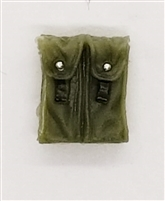 "Ammo Pouch: Double Magazine OLIVE GREEN Version - 1:18 Scale Modular MTF Accessory for 3-3/4"" Action Figures"