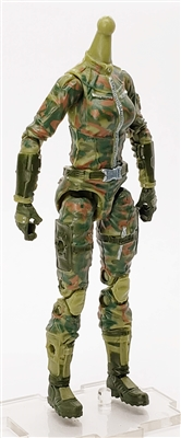 "MTF Female Valkyries Body WITHOUT Head OLIVE GREEN CAMO ""Ambush-Ops"" Version BASIC - 1:18 Scale Marauder Task Force Action Figure"