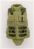 "Female Vest: High Collar Type OLIVE GREEN Version - 1:18 Scale Modular MTF Valkyries Accessory for 3-3/4"" Action Figures"