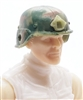 "Headgear: LWH Combat Helmet CAMO OLIVE GREEN Version - 1:18 Scale Modular MTF Accessory for 3-3/4"" Action Figures"