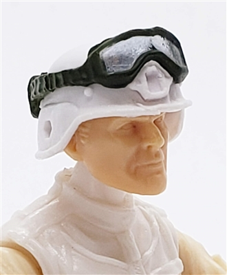 "Headgear: Large Goggles GREEN Version with SMOKE Tint - 1:18 Scale Modular MTF Accessory for 3-3/4"" Action Figures"