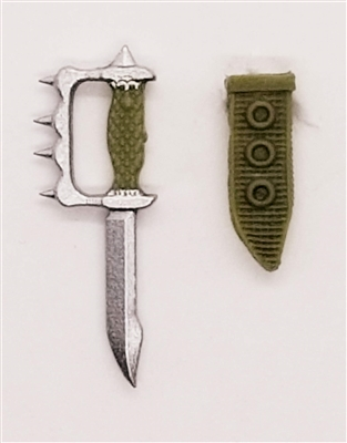 "Knuckle Knife with Sheath: Small Size OLIVE GREEN Version - 1:18 Scale Modular MTF Accessory for 3-3/4"" Action Figures"