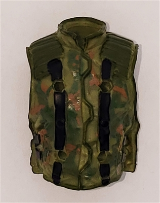 "Male Vest: Model 86 Type OLIVE GREEN CAMO Version - 1:18 Scale Modular MTF Accessory for 3-3/4"" Action Figures"