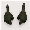 "Male Hands: Green Full Gloves Right AND Left (Pair) - 1:18 Scale MTF Accessory for 3-3/4"" Action Figures"