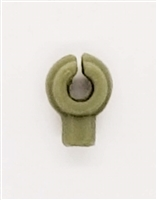 """C-Clip"" Universal Modular Mounting Peg: OLIVE Green Version - 1:18 Scale MTF Accessory for 3 3/4 Inch Action Figures"