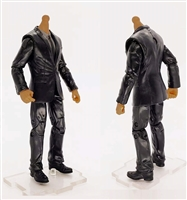 "PRE-ORDER: MTF Male Trooper Body WITHOUT Head - BLACK SUIT & GRAY SHIRT  ""Agency-Ops"" TAN Skin Tone - 1:18 Scale Marauder Task Force Action Figure"
