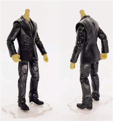 "MTF Male Trooper Body WITHOUT Head - BLACK SUIT & GRAY SHIRT  ""Agency-Ops"" LIGHT TAN Skin Tone - 1:18 Scale Marauder Task Force Action Figure"
