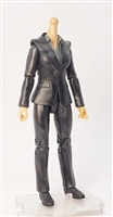 "MTF Female Valkyries Body WITHOUT Head BLACK SUIT & GRAY SHIRT ""Agency-Ops"" Light Skin Version- 1:18 Scale Marauder Task Force Action Figure"