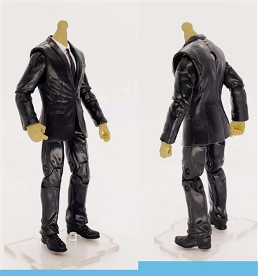 "MTF Male Trooper Body WITHOUT Head - BLACK SUIT & WHITE SHIRT  ""Agency-Ops"" LIGHT TAN Skin Tone - 1:18 Scale Marauder Task Force Action Figure"