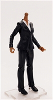 "MTF Female Valkyries Body WITHOUT Head BLACK SUIT & WHITE SHIRT ""Agency-Ops"" DARK Skin Version- 1:18 Scale Marauder Task Force Action Figure"