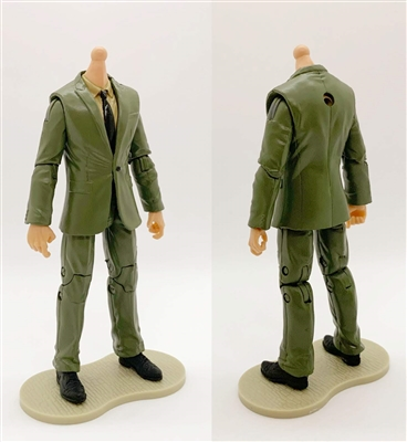 "MTF Male Trooper Body WITHOUT Head - GREEN SUIT & TAN SHIRT with BLACK Tie ""Agency-Ops"" LIGHT Skin Tone - 1:18 Scale Marauder Task Force Action Figure"