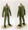 "MTF Male Trooper Body WITHOUT Head - GREEN SUIT & TAN SHIRT with BLACK Tie  ""Agency-Ops"" DARK Skin Tone - 1:18 Scale Marauder Task Force Action Figure"