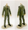 "MTF Male Trooper Body WITHOUT Head - GREEN SUIT & TAN SHIRT with BLACK Tie ""Agency-Ops"" LIGHT TAN Skin Tone - 1:18 Scale Marauder Task Force Action Figure"
