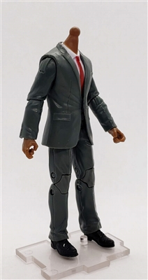 "MTF Male Trooper Body WITHOUT Head - GRAY SUIT & WHITE SHIRT  ""Agency-Ops"" DARK Skin Tone - 1:18 Scale Marauder Task Force Action Figure"