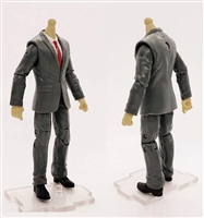 "PRE-ORDER: MTF Male Trooper Body WITHOUT Head - GRAY SUIT & WHITE SHIRT with BLACK Tie ""Agency-Ops"" LIGHT TAN Skin Tone - 1:18 Scale Marauder Task Force Action Figure"
