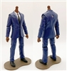 "MTF Male Trooper Body WITHOUT Head - BLUE SUIT & WHITE SHIRT with BLACK Tie ""Agency-Ops"" DARK Skin Tone - 1:18 Scale Marauder Task Force Action Figure"