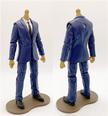 "PRE-ORDER: MTF Male Trooper Body WITHOUT Head - BLUE SUIT & WHITE SHIRT with BLACK Tie ""Agency-Ops"" LIGHT TAN Skin Tone - 1:18 Scale Marauder Task Force Action Figure"