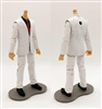 "MTF Male Trooper Body WITHOUT Head - WHITE SUIT & BLACK SHIRT with RED Tie ""Agency-Ops"" LIGHT Skin Tone - 1:18 Scale Marauder Task Force Action Figure"