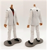 "PRE-ORDER: MTF Male Trooper Body WITHOUT Head - WHITE SUIT & BLACK SHIRT with RED Tie ""Agency-Ops"" TAN Skin Tone - 1:18 Scale Marauder Task Force Action Figure"