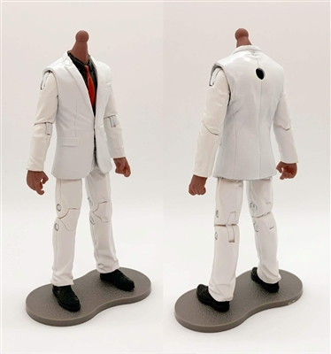 "PRE-ORDER: MTF Male Trooper Body WITHOUT Head - WHITE SUIT & BLACK SHIRT with RED Tie  ""Agency-Ops"" DARK Skin Tone - 1:18 Scale Marauder Task Force Action Figure"