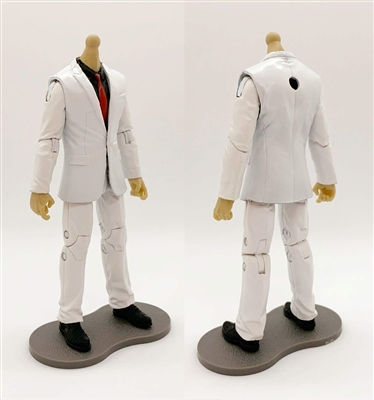 "PRE-ORDER: MTF Male Trooper Body WITHOUT Head - WHITE SUIT & BLACK SHIRT with RED Tie ""Agency-Ops"" LIGHT TAN Skin Tone - 1:18 Scale Marauder Task Force Action Figure"