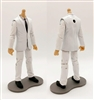"PRE-ORDER: MTF Male Trooper Body WITHOUT Head - WHITE SUIT & WHITE SHIRT with BLACK Tie ""Agency-Ops"" LIGHT Skin Tone - 1:18 Scale Marauder Task Force Action Figure"
