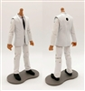 "PRE-ORDER: MTF Male Trooper Body WITHOUT Head - WHITE SUIT & WHITE SHIRT with BLACK Tie ""Agency-Ops"" TAN Skin Tone - 1:18 Scale Marauder Task Force Action Figure"