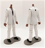 "PRE-ORDER: MTF Male Trooper Body WITHOUT Head - WHITE SUIT & WHITE SHIRT with BLACK Tie ""Agency-Ops"" DARK Skin Tone - 1:18 Scale Marauder Task Force Action Figure"