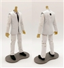 "PRE-ORDER: MTF Male Trooper Body WITHOUT Head - WHITE SUIT & WHITE SHIRT with BLACK Tie ""Agency-Ops"" LIGHT TAN Skin Tone - 1:18 Scale Marauder Task Force Action Figure"