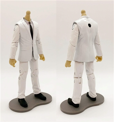 "MTF Male Trooper Body WITHOUT Head - WHITE SUIT & WHITE SHIRT with BLACK Tie ""Agency-Ops"" LIGHT TAN Skin Tone - 1:18 Scale Marauder Task Force Action Figure"