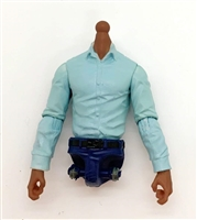 PRE-ORDER: MTF Male Trooper Dress Shirt Torso (NO Legs OR Head): LIGHT BLUE Version with DARK Skin Tone - 1:18 Scale Marauder Task Force Accessory