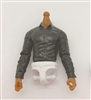 PRE-ORDER: MTF Male Trooper Dress Shirt Torso (NO Legs OR Head): BLACK Version, WHITE Waist with TAN Skin Tone - 1:18 Scale Marauder Task Force Accessory