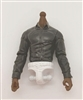 PRE-ORDER: MTF Male Trooper Dress Shirt Torso (NO Legs OR Head): BLACK Version, WHITE Waist with DARK Skin Tone - 1:18 Scale Marauder Task Force Accessory
