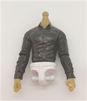 PRE-ORDER: MTF Male Trooper Dress Shirt Torso (NO Legs OR Head): BLACK Version, WHITE Waist with LIGHT TAN Skin Tone - 1:18 Scale Marauder Task Force Accessory