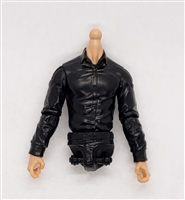 MTF Male Trooper Dress Shirt Torso (NO Legs OR Head): BLACK Version with LIGHT Skin Tone - 1:18 Scale Marauder Task Force Accessory