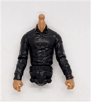 MTF Male Trooper Dress Shirt Torso (NO Legs OR Head): BLACK Version with TAN Skin Tone - 1:18 Scale Marauder Task Force Accessory